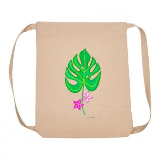 Tropical Leaf with 2 Flowers - Backpack