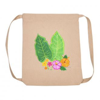 Two Tropical Leaves & Multi Flowers - Backpack