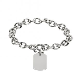 ID BRACELET WITH RECTANGULAR CHARM