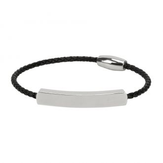 LEATHER AND SS BRACELET  W/ID, BLACK