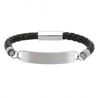 LEATHER AND SS BRACELET ID PLATE