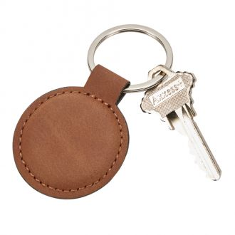 Leatherette Round Key Chain, Caramel 1.875
