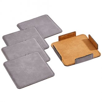 Leatherette Coasters/4 Grey 3.75