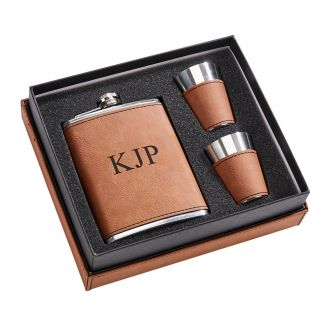 Leatherette Box/ 8 oz Flask/2 Cups Caramel