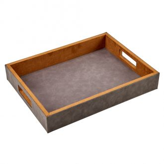 Leatherette Tray Grey 2.5