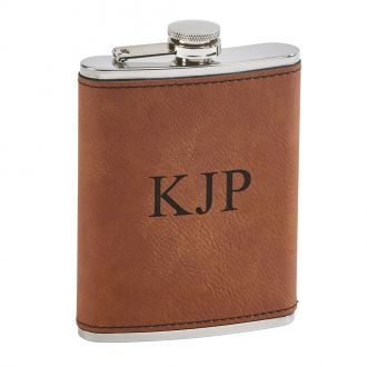 Leatherette Flask Caramel 8 Oz Cap