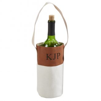 Leatherette/Canvas Caramel Wine Tote 16