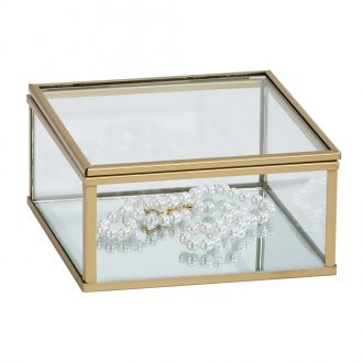 Glass Box w/Gold Tone Trim 2.25
