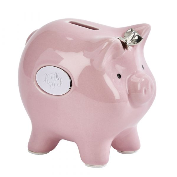 Ceramic Pig Bank w/Silver Bow 4.75