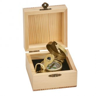 Natural Wood Box w/Compass, 4