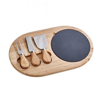 3 Pc Cheese Set Slate & Wood Brd Wd Hdls