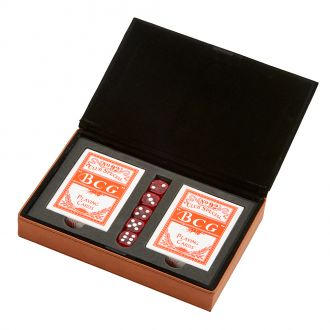 Leatherette 2 Card Deck Set, Caramel 5