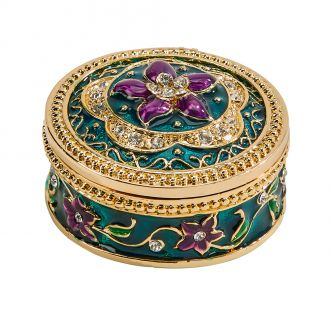 Trinket Box w/Purple Flower 1