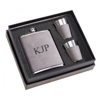 Leatherette Box/ 8 oz Flask /2 Cups Grey