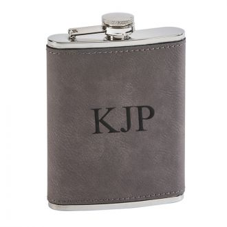 Leatherette Flask Grey 8  Oz Cap