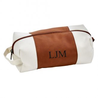 Leatherette/Canvas Caramel Travel Kit 6