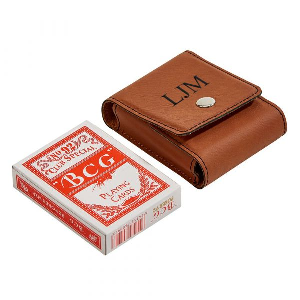 Leatherette Playing Cards Case,  Caramel 3.75