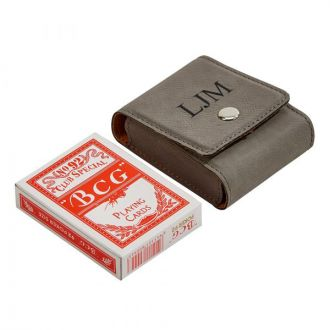 Leatherette Playing Cards Case,  Grey 3.75