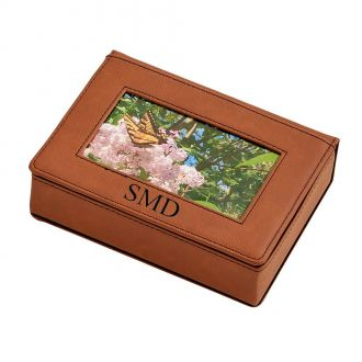 Leatherette Frame Cover Box Caramel 6.75