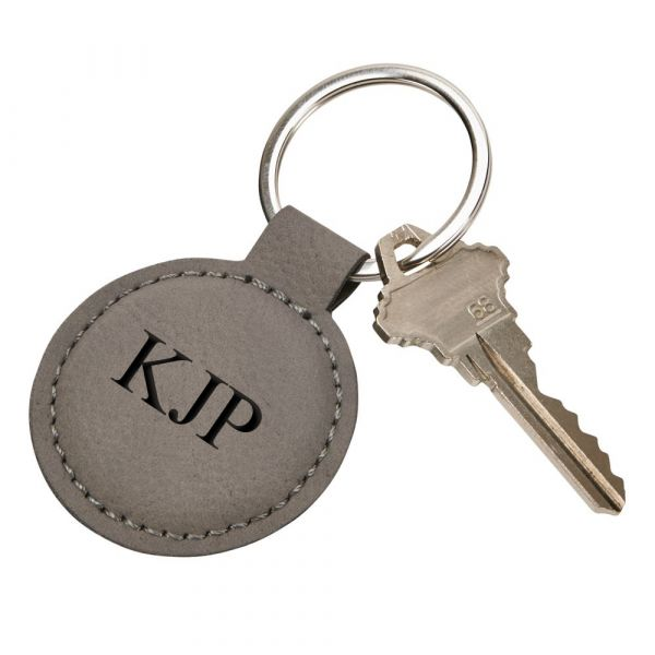 Leatherette Round Key Chain, Grey 1.875
