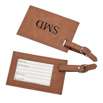 Leatherette Luggage Tag, Caramel 2.75