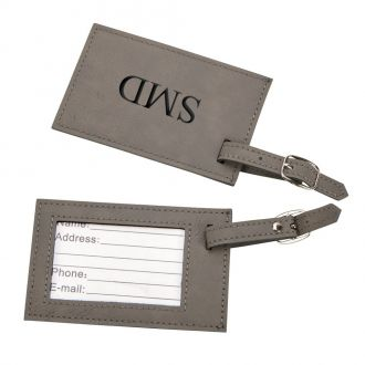 Leatherette Luggage Tag, Grey 2.75