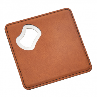Leatherette Coaster/Bottle Opener, Caramel 4