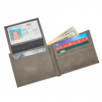 Leatherette Bill Fold, Grey 4.5