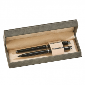 Leatherette Double Pen Set, Grey 7