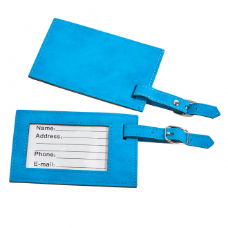Aqua Blue Leatherette Luggage Tag, 4.375