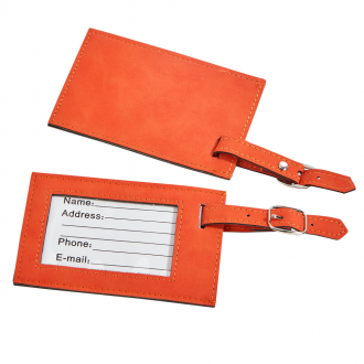 Orange Leatherette Luggage Tag, 4.37