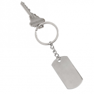 Dog Tag Key Chain, Stainless Steel, 4.25