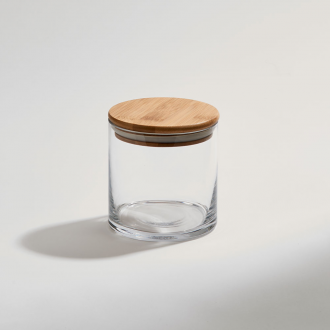 Glass Jar with Bamboo Wood Cover, 4.25