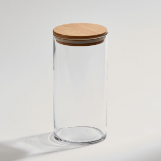 Glass Jar with Bamboo Wood Cover, 8.125