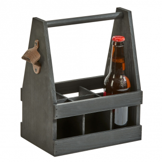 Black Wood 6 Bottle Beverage Caddy with Opener, 11.25