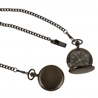 GUN METAL POCKET WATCH WITH 12