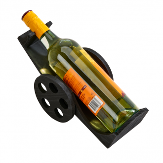 Black Wood Wine Bottle Cart, 6