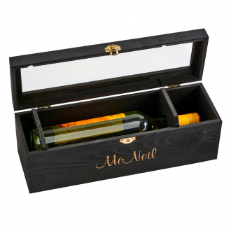 Black Wood Hinged Cover Wine Box, 13.75