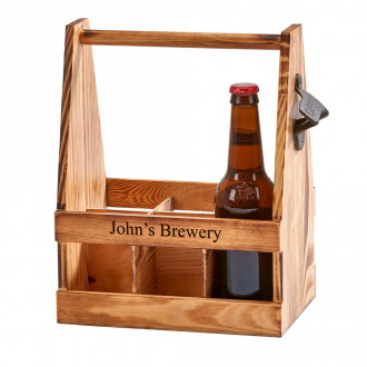 Light Wood 6 Bottle Beverage Caddy with Opener, 11.25