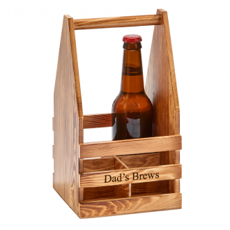 Light Wood 4 Bottle Beverage Caddy, 11