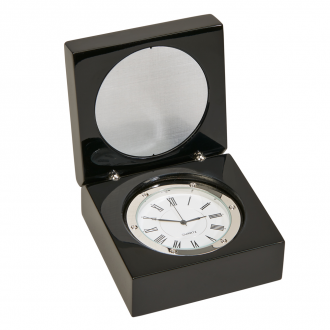 Black Square Wood Box with Clock & Engraving Plate