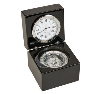 Black Square Wood Box with Compass & Clock