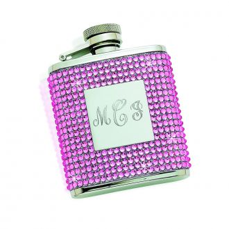 FLASK ENCASED IN PINK CRYSTALS