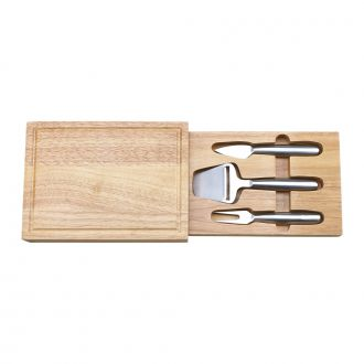 RECTANGULAR CHEESEBOARD WITH 3 METAL UTENSILS INSIDE