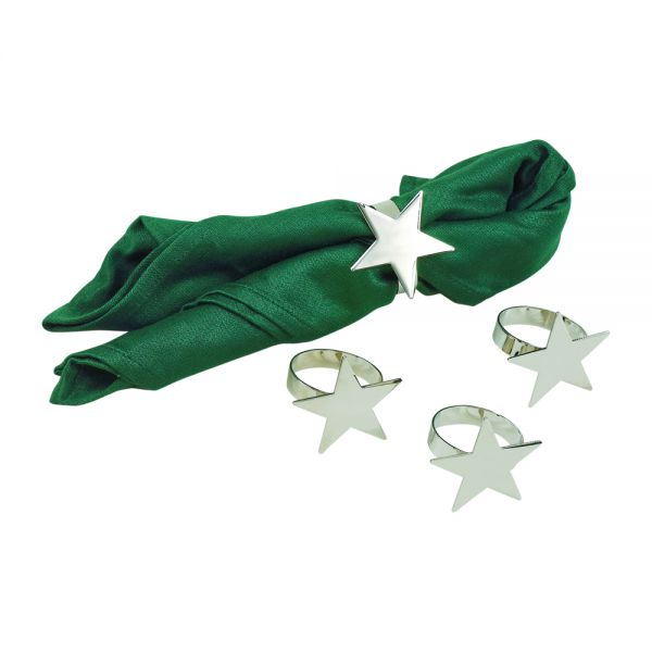 SET OF 4 STAR SHAPED NAPKIN RINGS