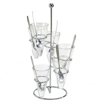 13 PIECE DESSERT SET ON SPIRAL RACK INCLUDES CLEAR CONE DISHES (6) AND SPOONS (6)