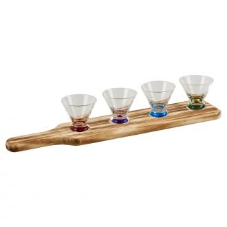5 PIECE TASTING FLIGHT WITH 4 COLORED GLASSES AND A WOOD PADDLE RACK