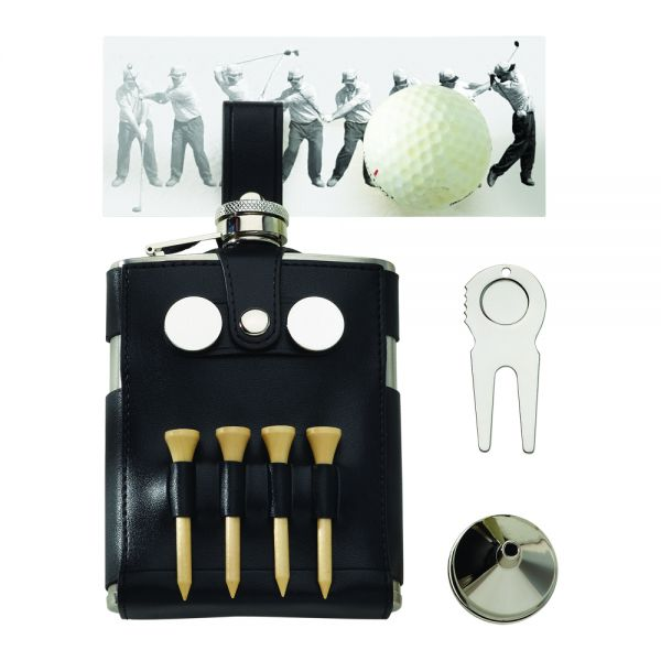 BLACK LEATHER WRAPPED GOLF FLASK WITH GOLFER'S TOOLS