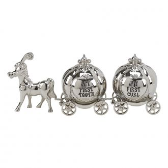 HORSE AND 2 PUMPKIN COACHES FOR 1ST TOOTH & CURL, POLISHED FINISH