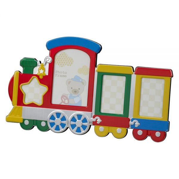 MULTI COLOR TRAIN DESIGN FRAME, HOLDS MULTIPLE PHOTOS
